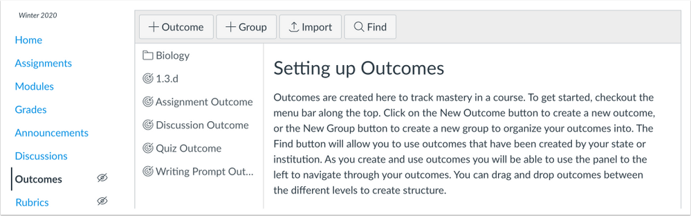 Outcomes page without the Manage Rubrics button