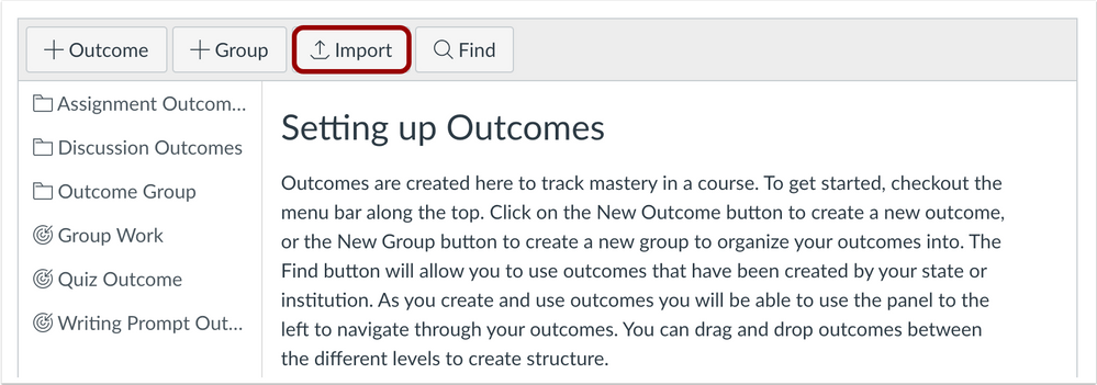 Outcomes page Import button