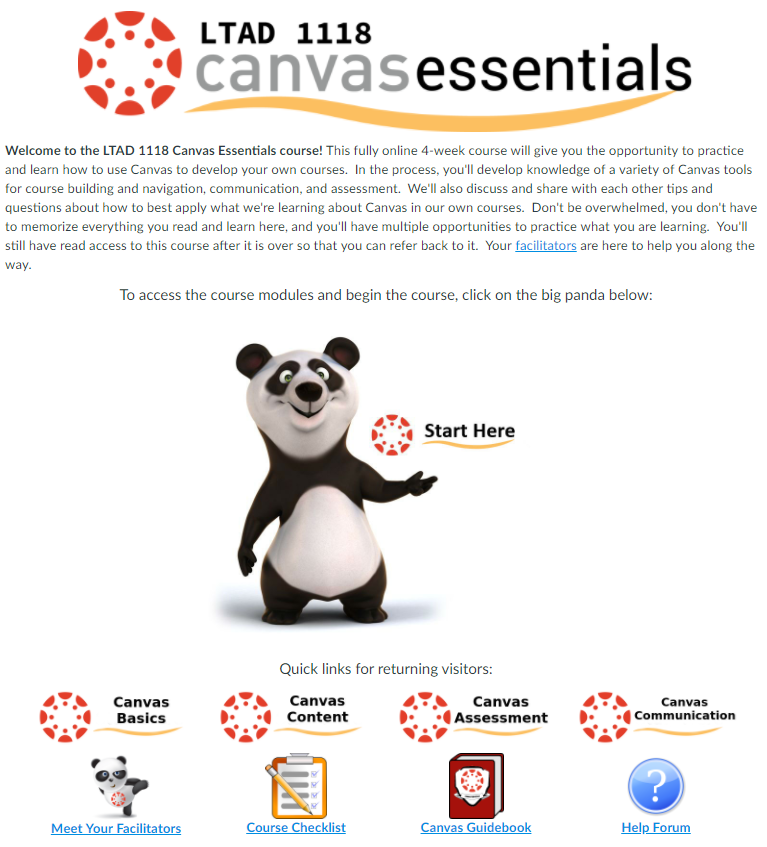 Canvas Essentials homepage