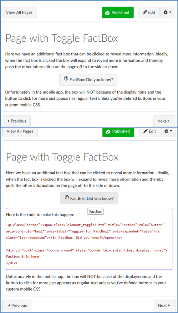 Toggler button to display factbox