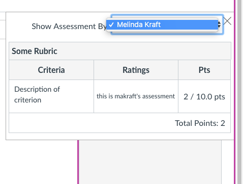 screenshot of rubric drop down in impersonated student view - only most recent rubric teacher submission is displayed.