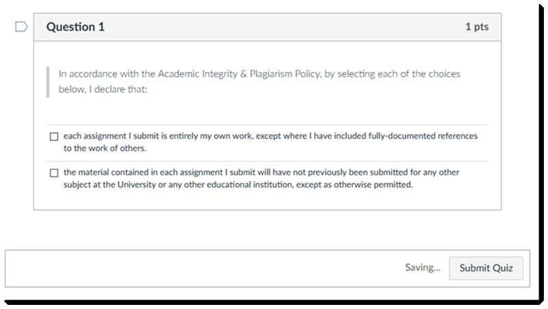 Academic Integrity & Plagiarism Acknowledgement