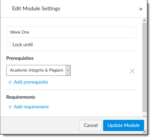 Module Settings-Prerequisites
