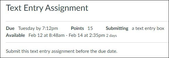Text Entry Assignment Details