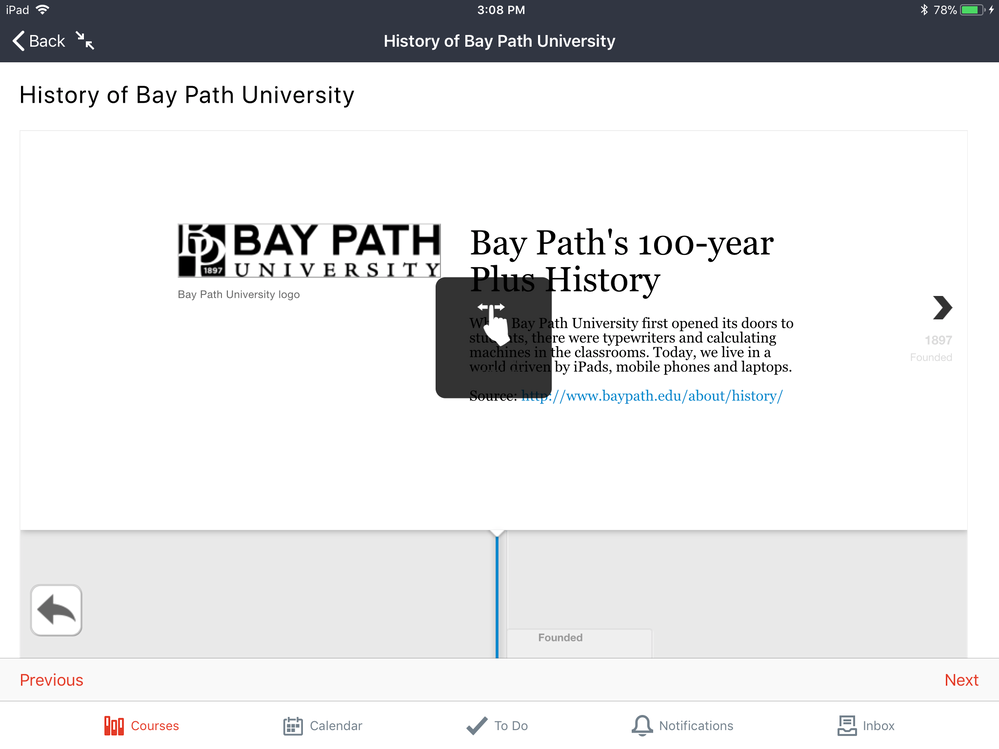 Interactive H5P timeline in the Canvas iOS app