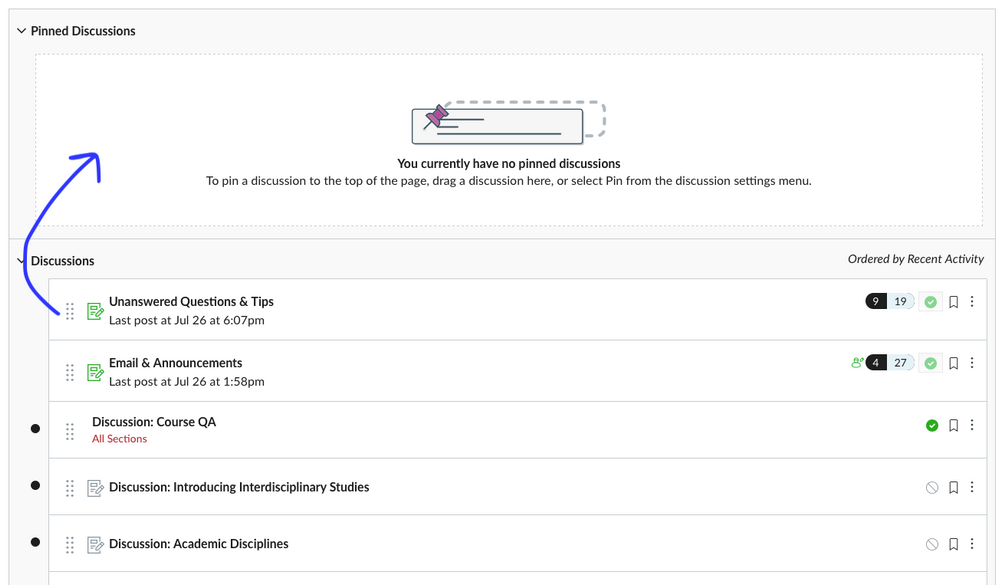 screenshot of Discussions area in Canvas LMS