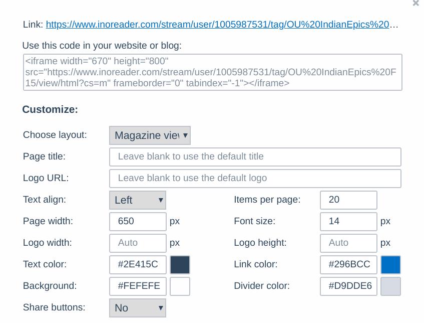 screenshot of inoreader html clippings