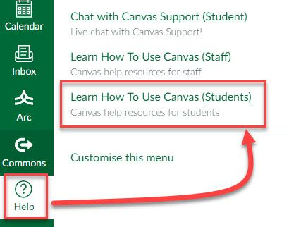 Accessing the Learn How To Use Canvas Module via the Help Menu screen shot