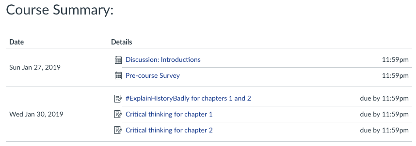 Course Summary with calendar events and assignments