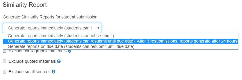Submission Options in Turnitin