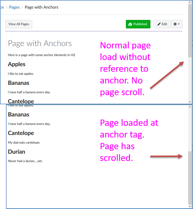 Page loaded normal compared to loaded at anchor tag