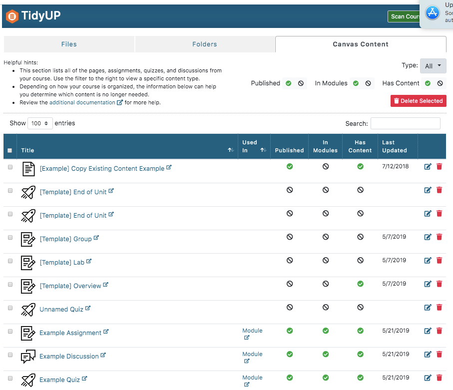 View of all course content in TidyUP