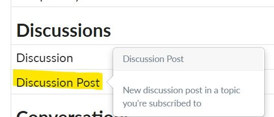 Discussion posts notifications