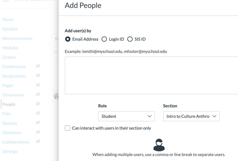Add People dialog box in Canvas