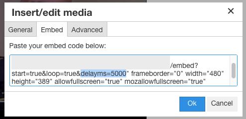 Edited embed code