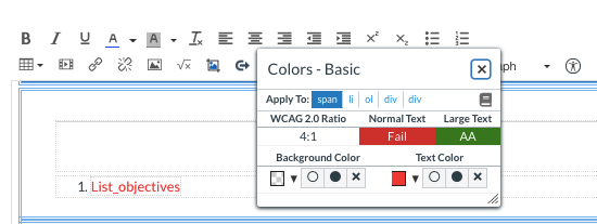 Insufficient color contrast ratio warning in DesignPLUS
