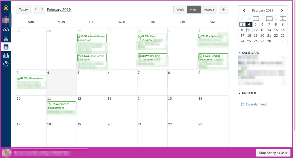 Screenshot of Canvas calendar