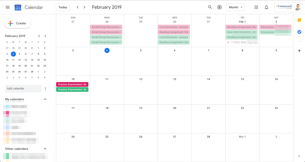Screenshot of Google calendar