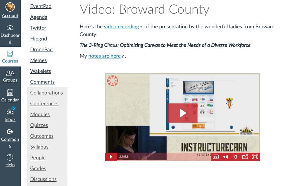 video in Canvas page screenshot