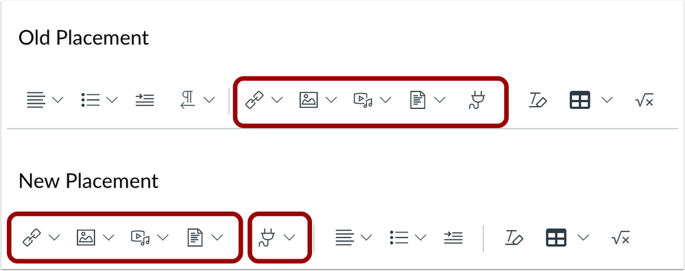 Old and New Placement comparisons in the New Rich Content Editor