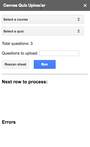 Quiz uploader sidebar with dynamic course and quiz selection boxes