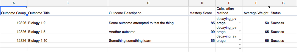 Outcome upload template in a Google Sheet