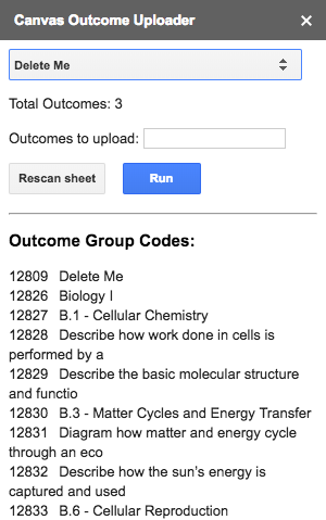 Outcome group codes displayed dynamically on course selection
