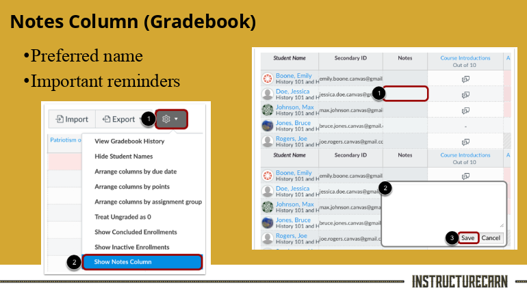 slide showing Notes column in Gradebook