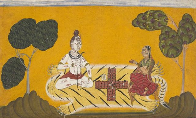 Shiva and Parvati playing