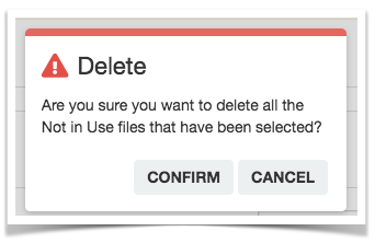 Modal asking if you are sure you want to delete the files