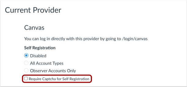 Captcha for Self Registration checkbox option