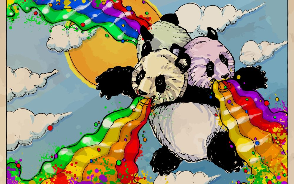 pandas flying with rainbows