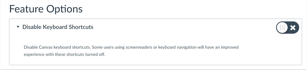 Disable Keyboard Shortcuts in the User Settings Feature Options Page