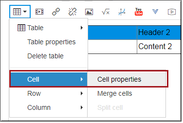Table options in rich  content editor