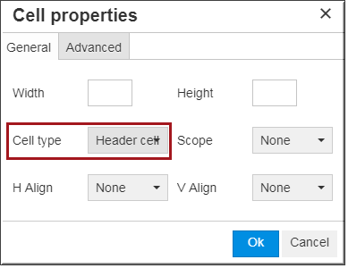 cell properties dialog box