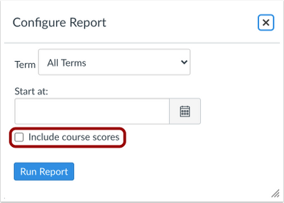 Report Configuration and Include Course Scores Checkbox