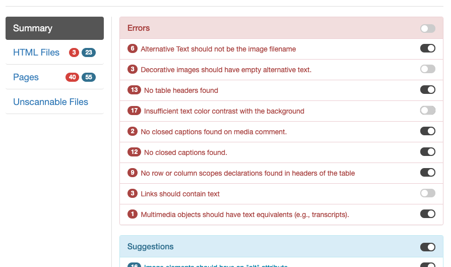 Screenshot showing the report filtering interface with some errors hidden