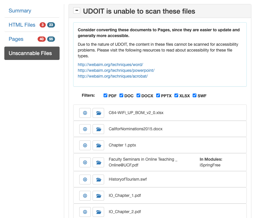 Screenshot of the new file types added to the Unscannable Files section