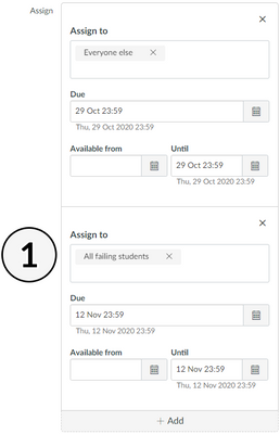 Example UI of assigning new due date for failing students.