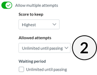Example UI of allowing attempts until passing for a quiz.