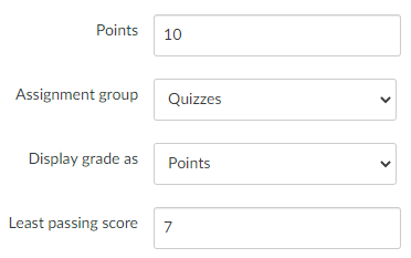 Example input for least passing score.