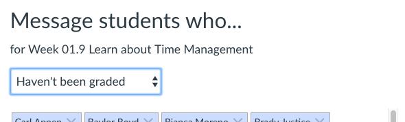 screenshot of gradebook filter