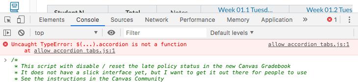 screenshot of error report in Console