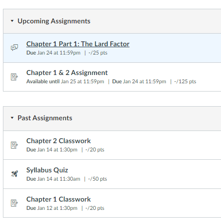 Unlocked Assignments