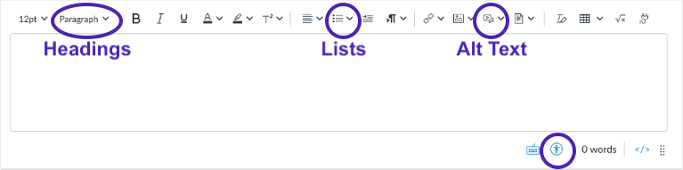 alt text, headings, lists and accessibility icons are circled