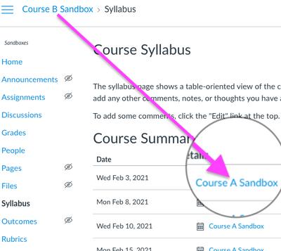 Course A events on Course B Syllabus