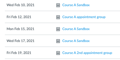 Course A's syllabus page with Zoom meetings and appointment groups
