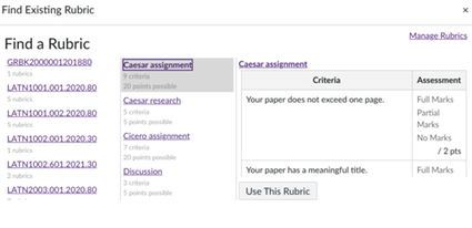 example of rubric search. Notice the similarity of the course names/numbers.