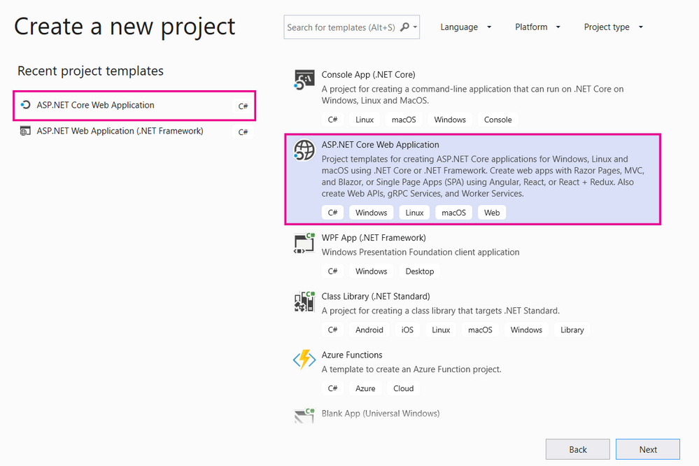 Visual Studio Project type screen