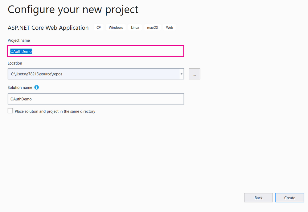 Visual Studio Project Name